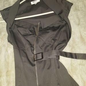 Gun metal zipper belted top